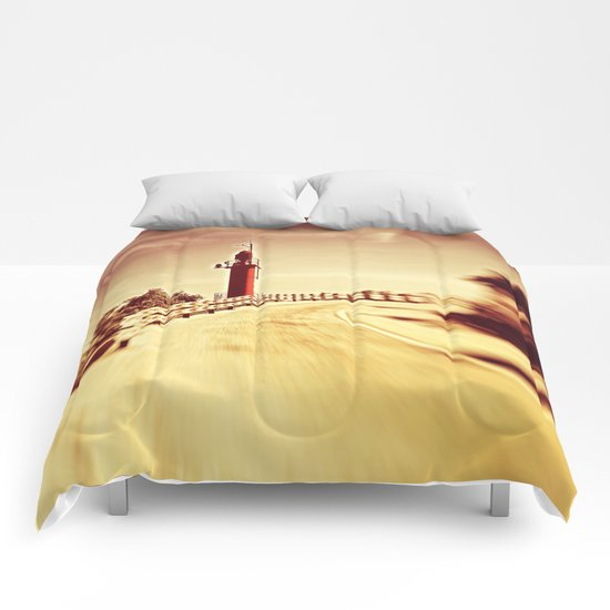 Lighthouse on the road Comforters