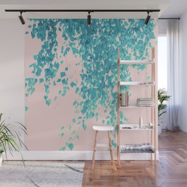 Turquoise Blush Leaves Delight #1 #tropical #decor #art #society6 Wall Mural