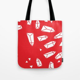 White Crystals on Red Tote Bag