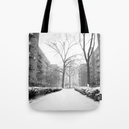 Snowy Day in Queens, New York City Tote Bag