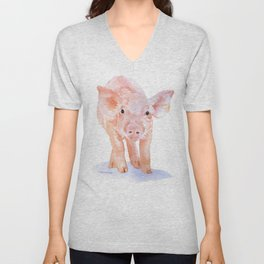Pig Watercolor Painting Unisex V-Neck