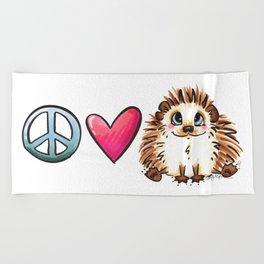 Peace, Love and Hedgehogs Beach Towel