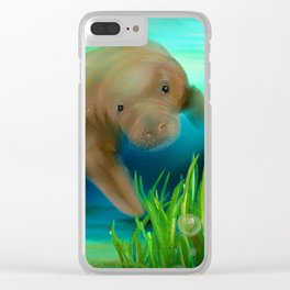 Manatee Illustration Clear iPhone Case