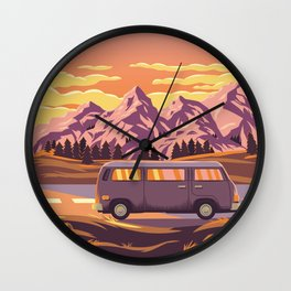 Cruising 101 - Bold and Colorful Traveling Van  Wall Clock