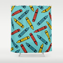 Crayons on Blue Pattern Shower Curtain
