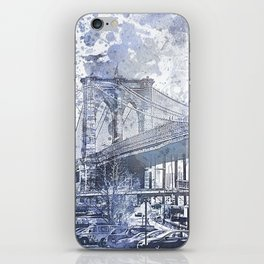 Brooklyn Bridge New York USA Watercolor blue Illustration iPhone Skin