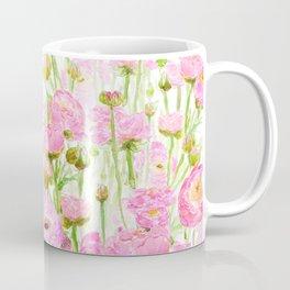 pink buttercup ranunculus field watercolor Coffee Mug