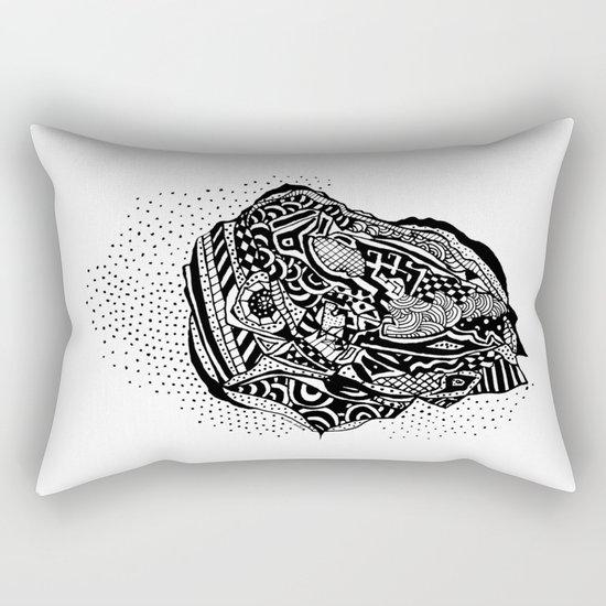 Hong Kong Dim Sum Wonton Doodle in BW Rectangular Pillow