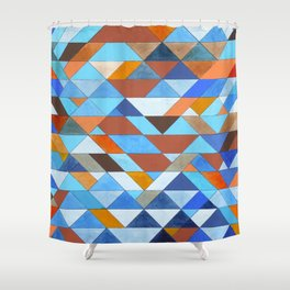 Triangle Pattern no.18 blue and orange Shower Curtain