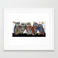 medieval Framed Art Prints featuring medieval owls by oxana zaika