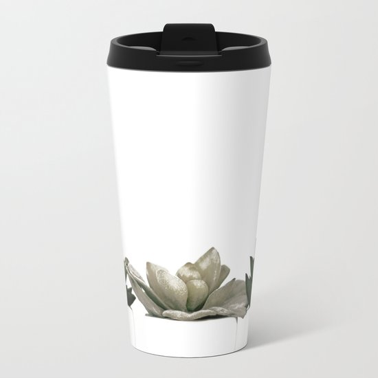 Lovely green cactus - cacti in white pots on a white background Metal Travel Mug
