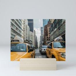 Taxis on New York City Street Mini Art Print