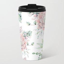 Pretty Pink Succulents Garden Metal Travel Mug