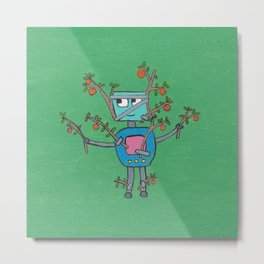 Robot Disguised as an Orange Tree Metal Print