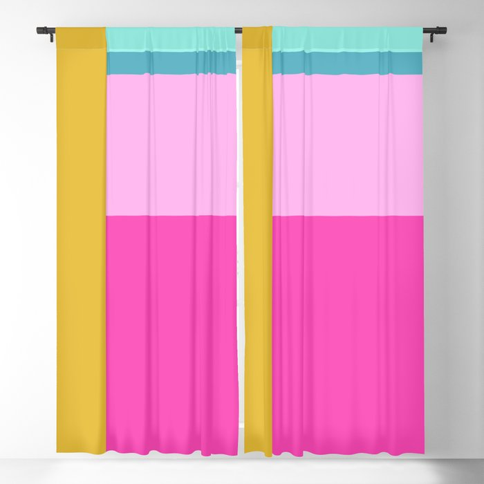 Geometric Bauhaus Style Color Block in Bright Colors Blackout Curtain