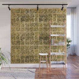 Mayan and aztec glyphs gold on vintage texture Wall Mural