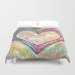 blue and pink hearts Duvet Cover