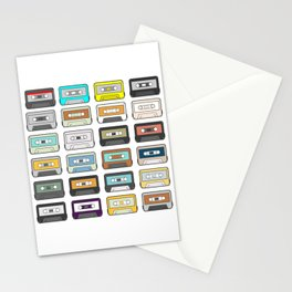 Retro Cassette Tapes Mixtapes 1980s Radio Music Lover Stationery Cards