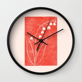 Lily of the Valley in Red Wall Clock