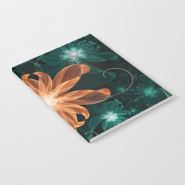 Alluring Turquoise and Orange Tiger Lily Flower Notebook