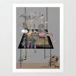 abstract animals and an old lady sitting on a huge table Art Print