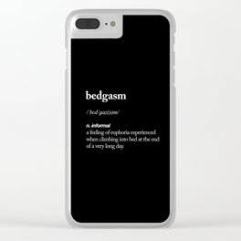 Bedgasm funny meme dictionary definition modern black and white typography home room wall decor Clear iPhone Case