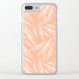 Feathered Leaf Pattern in Apricot Clear iPhone Case