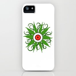 """Green Cannabis Shirt For High People """"Eyes"""" Weed T-shirt Design Marijuana Medication Legalized iPhone Case"""