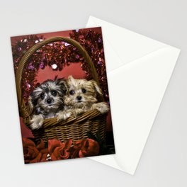 Mixed Breed Puppies Together in a Basket Looking up in Front of a Glitter Heart Stationery Cards
