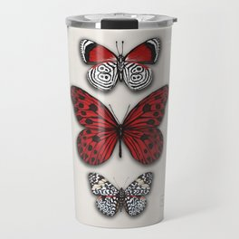 Red butterfly. Black and white papilon Travel Mug