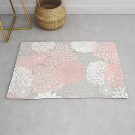 Floral Prints, Bloom Mix, White and Pink on Grey Rug