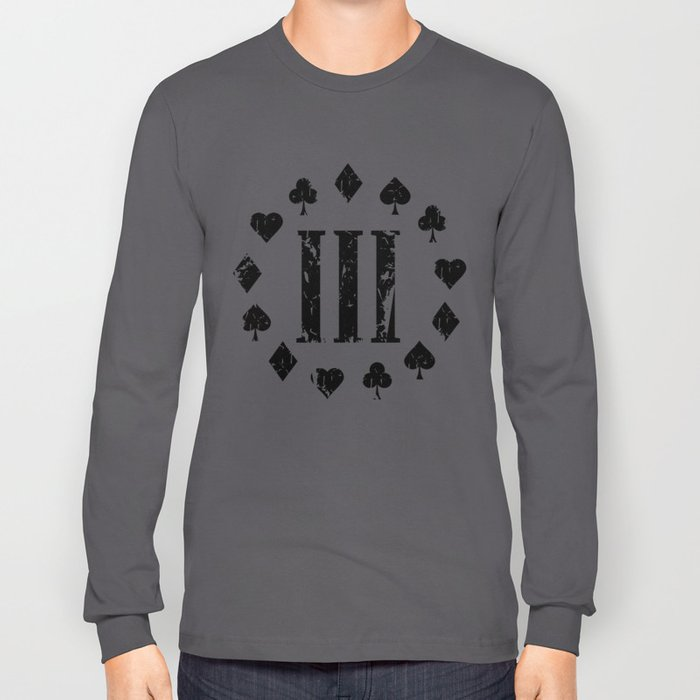 Three Percenter Aces Distressed Long Sleeve T-shirt