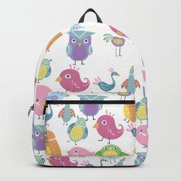 Hand drawn pink blue green orange birds illustration Backpack
