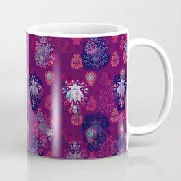 Lotus flower - wine red woodblock print style pattern Coffee Mug