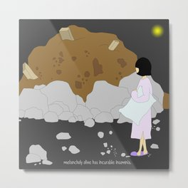 melancholy olive has incurable insomnia. Metal Print
