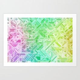 Bright Gradient (Violet Purple Lime Green Neon Yellow) Geometric Pattern Print Art Print