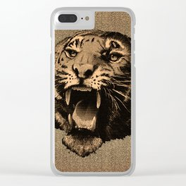 Vintage Tiger Clear iPhone Case