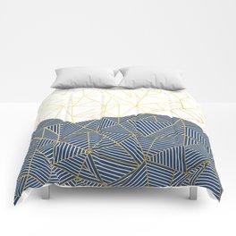 Ab Half and Half Navy Gold Comforters