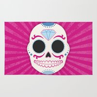 sugar skull Area & Throw Rugs featuring Sugar Skull by Illustration by Julia