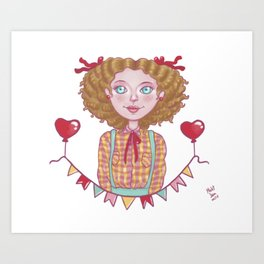 Cute Country Girl Art Print