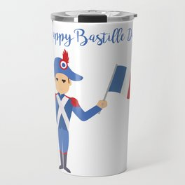 Soldier holding the French flag - Bastille Day Travel Mug