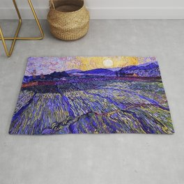 Lavender Fields with Rising Sun by Vincent van Gogh Rug
