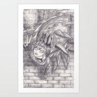 monster hunter Art Prints featuring Nerscylla on a Wall (Monster Hunter) by DearSweetAru
