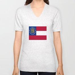 flag of the state of Georgia-Georgian,Gone with the wind,Atlanta,Colombus,Macon,Scarlett o'Hara,Usa Unisex V-Neck