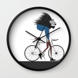 Hipster Lion and his Bicycle Wall Clock