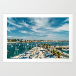 Luxury Yachts And Boats In Cascais Port At Atlantic Ocean, Wall Art Print, Luxury Resort Art, Poster Art Print