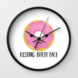 Resting Bitch Face | Pink Sprinkled Donut Wall Clock