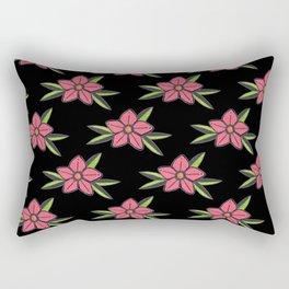 Hand Drawn Old School Tattoo Flower - Black Rectangular Pillow