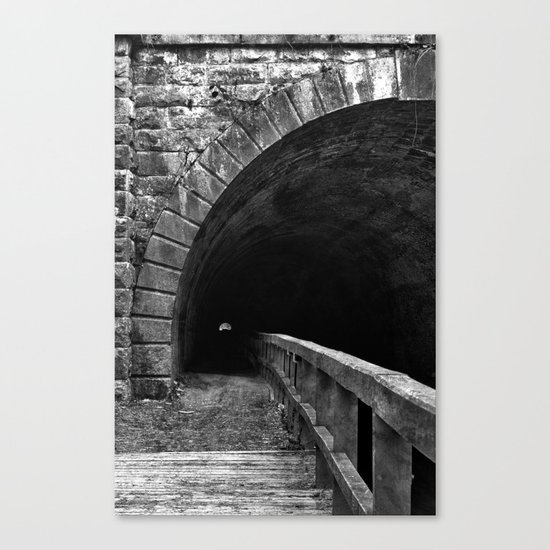 Paw Paw Grunge Tunnel - Black & White Canvas Print