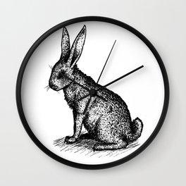 Rabbit in Ink Wall Clock
